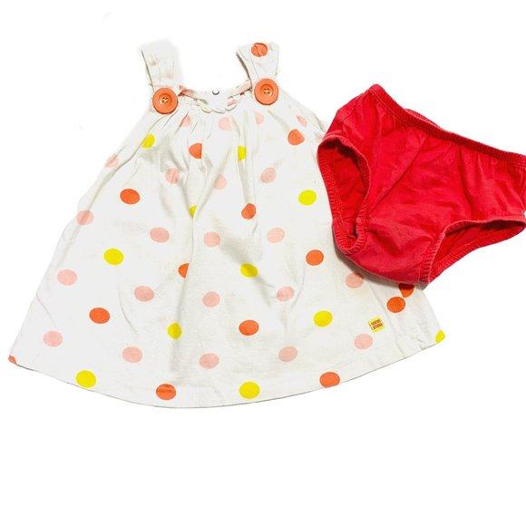 Sucre D'Orge Coral Polka Dot Dress x Diaper Cover